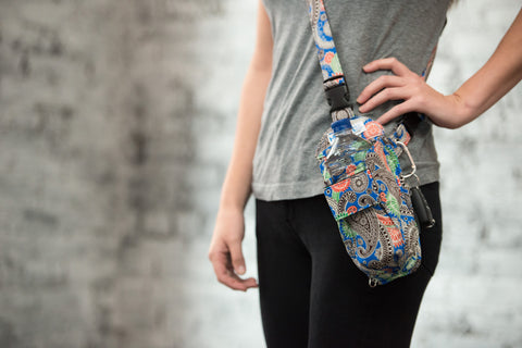 Blue Paisley Cross-body or Waist Strap Bottle HOLSTR