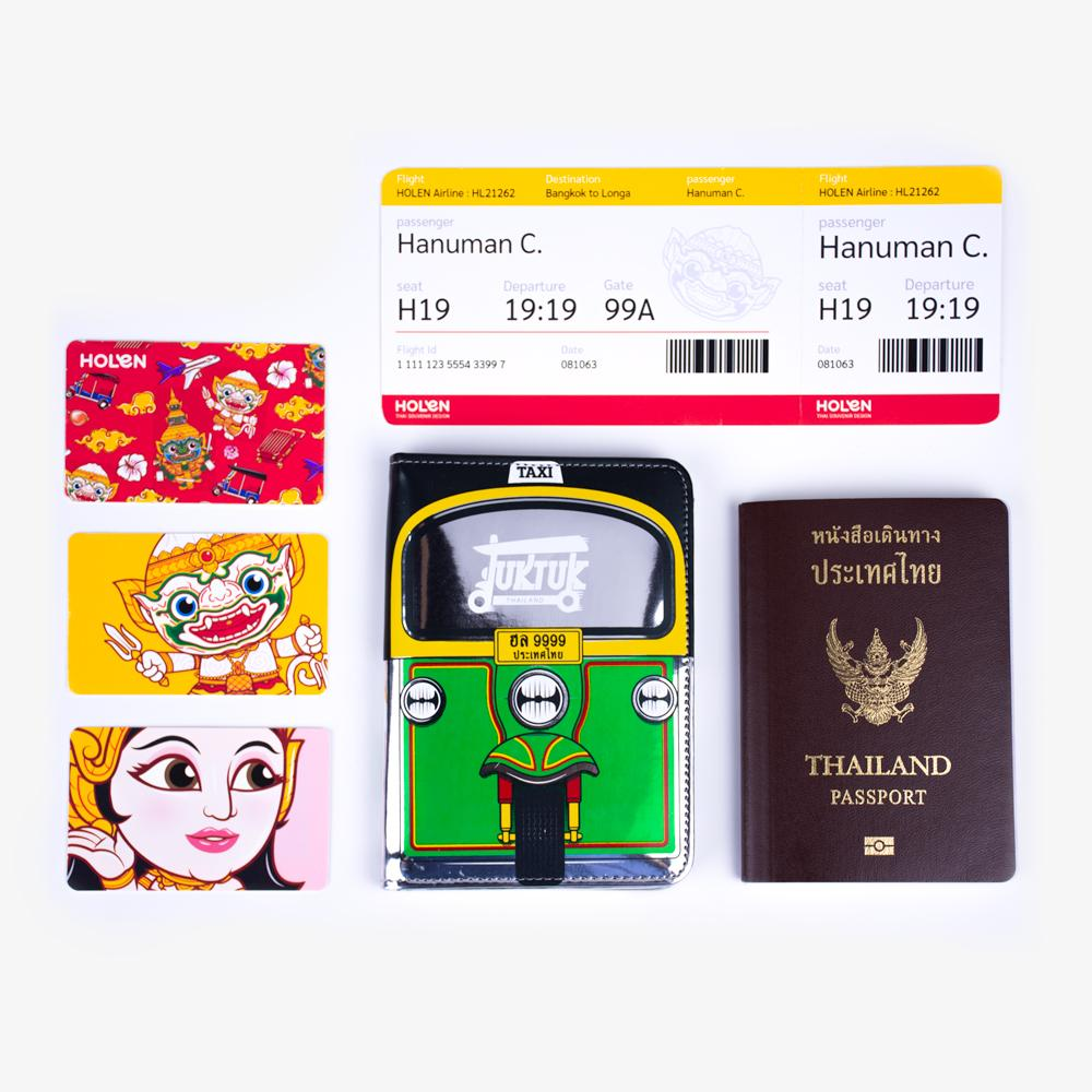 Tuk Tuk Passport Cover Green Function