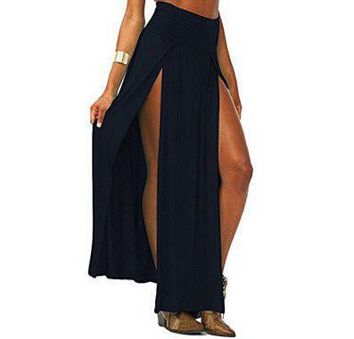 Open Front Maxi Skirt Black | Cheap Girls Rave Outfits | NuLights