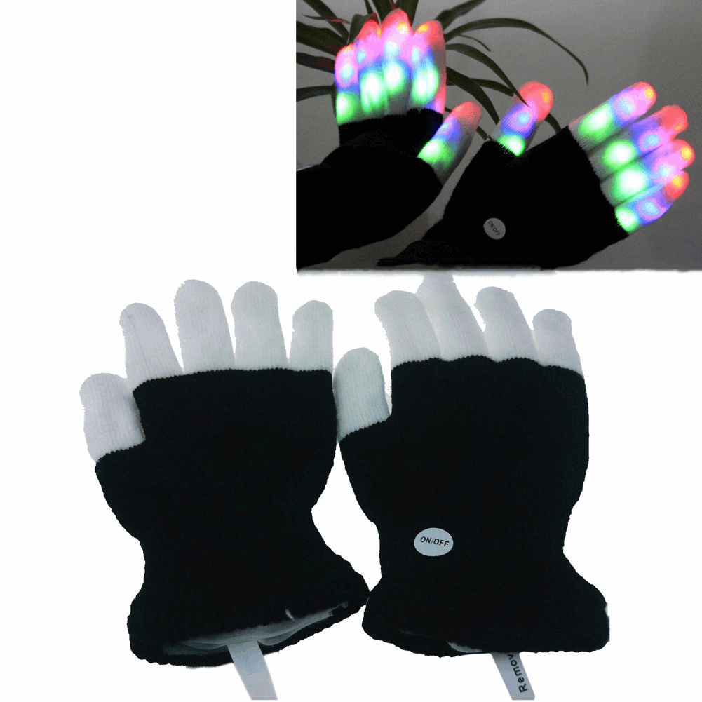 Full Finger LED Rave Gloves - Three Pack Discount - NuLights