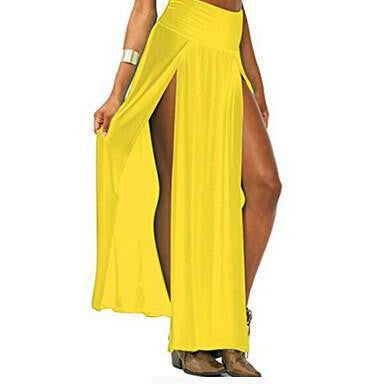 Open Front Maxi Skirt Yellow | Cheap Girls Rave Outfits | NuLights