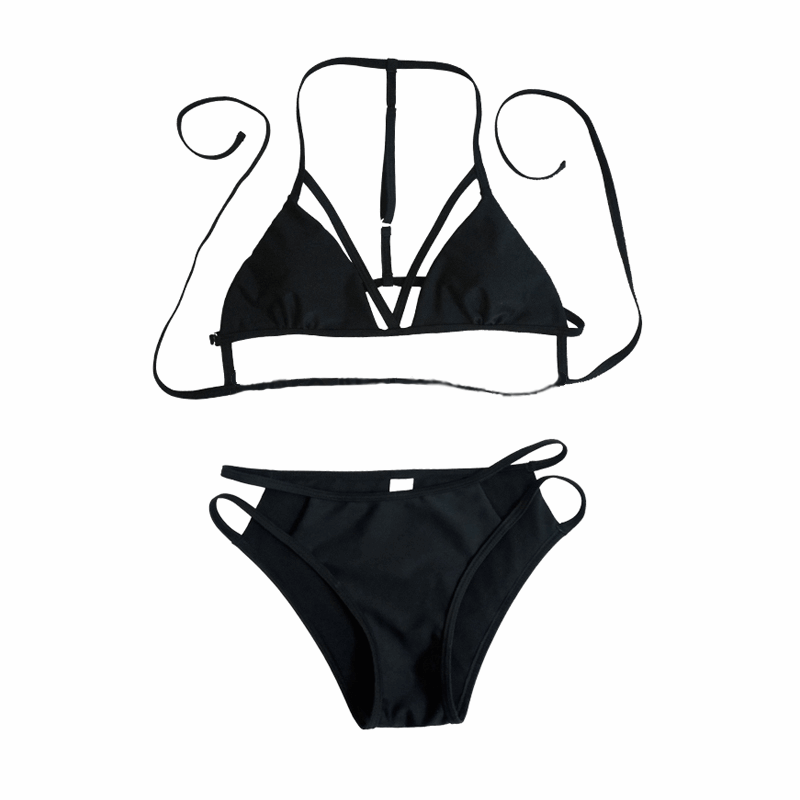Low Waist Black Two Piece Swimsuit | Cheap Womens Rave Clothes | NuLights
