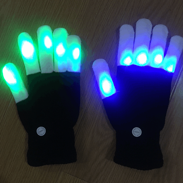 Full Finger LED Rave Gloves - Five Pack Discount