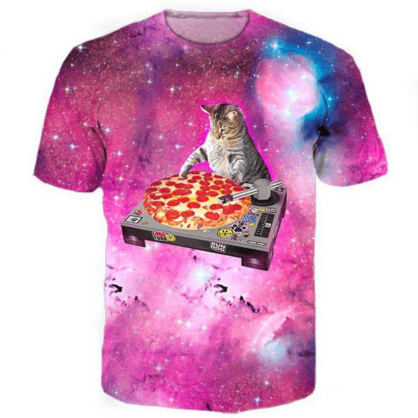 Buy DJ Pizza Cat Tee Online | Cheap Mens Rave Clothing | NuLights