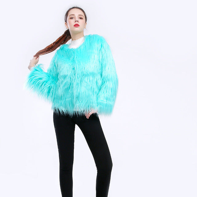 Long Sleeve Faux Fur Coat - NuLights