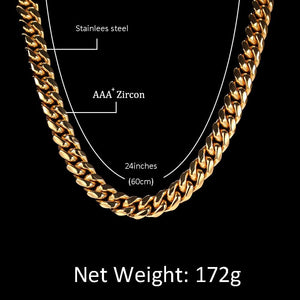 Men Necklace Gold Stainless Steel White Crystal Miami Cuban Chain 8-18MM