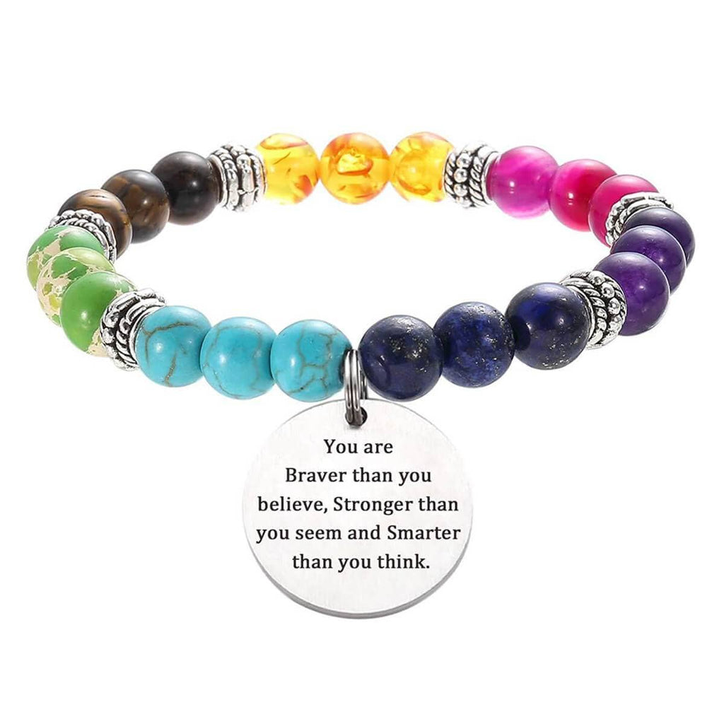 7 Chakra Bracelet Men Women Natural Stone Agate Tiger Stone Bangle Charm Tag, Free Engraving