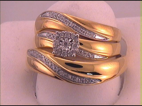 925 Sterling Silver Yellow Plated 1/5 ctw Diamond Fashion Trio Set (Ladies Size 7, Mens Size 10)