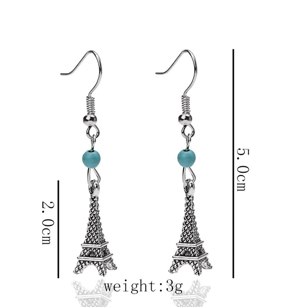 Eiffel Tower building ancient silver earrings earrings