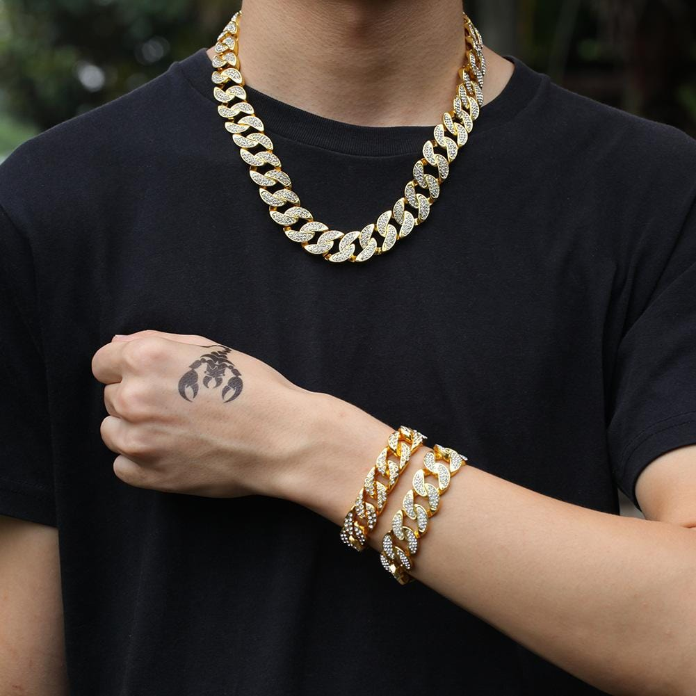 Men Gold Chain Necklace Gold Plated Crystal Cuban Chain Miami