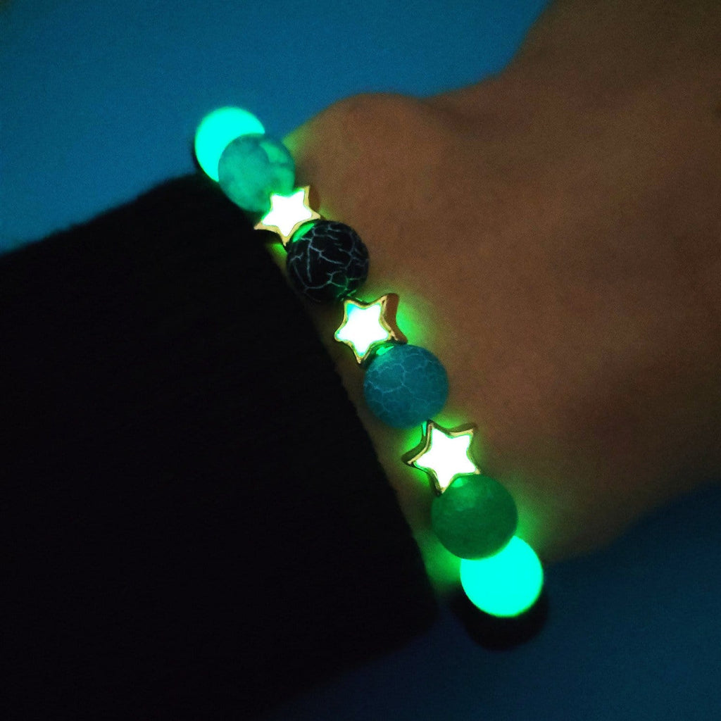 8mm Bangle Bracelet for Women Natural Stone Bracelet Lava Luminous Bead Star 17CM