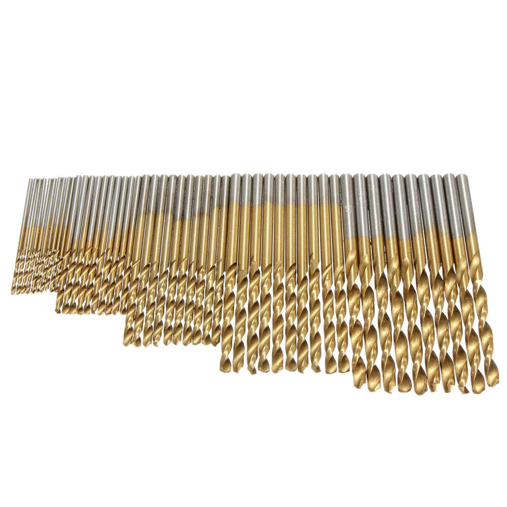 50PCS HSS Titanium Coated Twist Drill Bits High Speed Steel Drill Bit Set