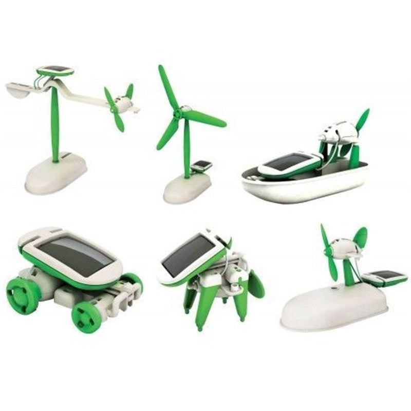 6 in 1 Solar Power DIY Toy Robots Helicopter Plane Educational Children Gift GREEN Other Novelty & Gag Toys