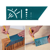 3D Woodworking Ruler Woodworking Scribe Mark Line Gauge T-type Ruler SEA TURTLE GREEN Hand Tools