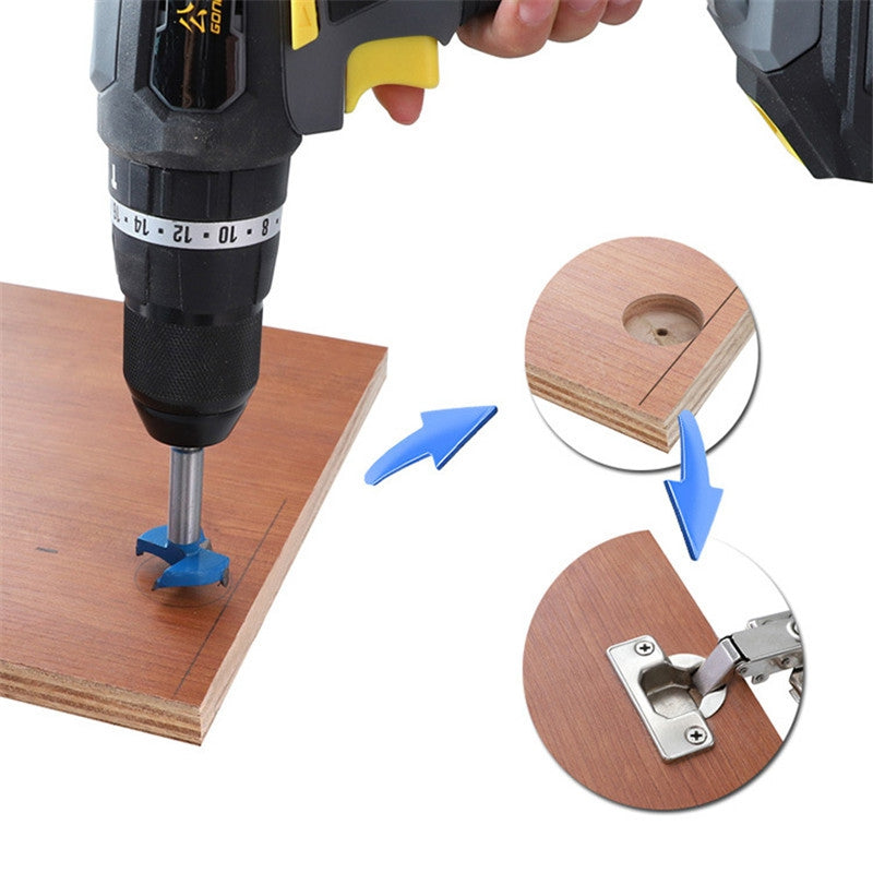 Auxiliary Tools for Punching and Installation of Woodworking Hinges