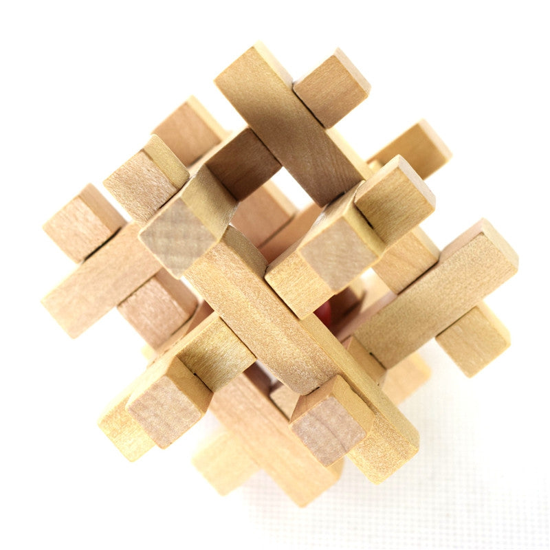 Wooden Take the Ball from Cage Lock Logic Puzzle Burr Puzzles Brain Teaser