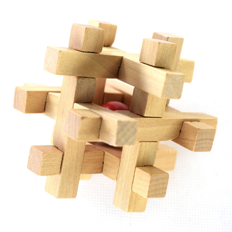 Wooden Take the Ball from Cage Lock Logic Puzzle Burr Puzzles Brain Teaser WOOD Puzzles & Magic Cubes
