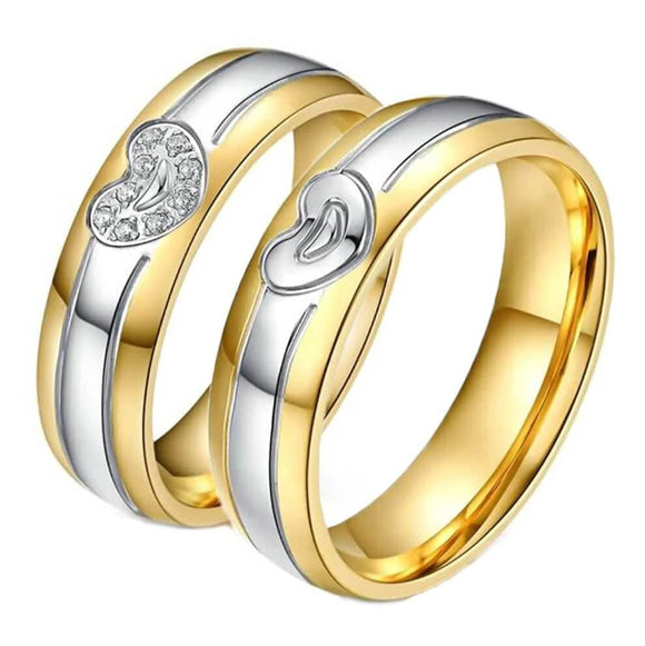 Wedding Rings Gold Stainless Steel Heart Ring Silver Size 5-12