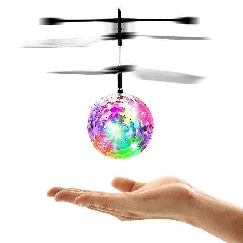 Induction Colorful Lamp Flash Flying Ball Helicopter Toy for Kids WHITE RC Helicopters