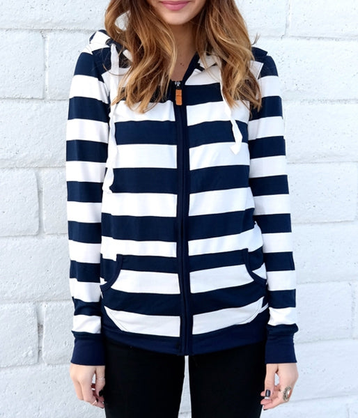 Long Sleeve Striped Zippered Women's Hoodie Women's Clothing BLUE AND WHITE M