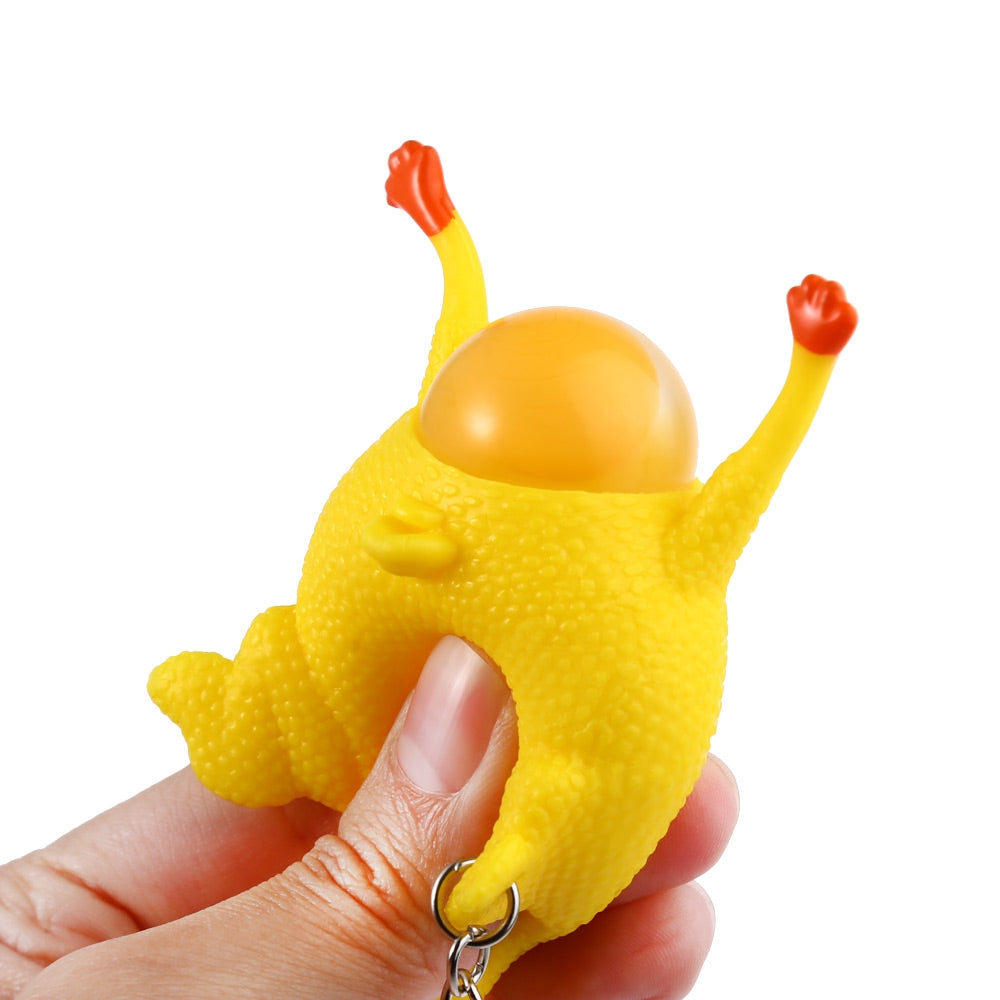 Novelty Push-egg Chicken Key Ring Interesting Air Vent Decompression Toy