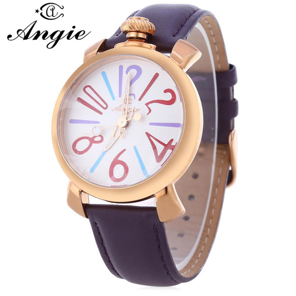 Angie ST7154L Matonini Series Leather Band Quartz Watch for Ladies Luminous Pointers