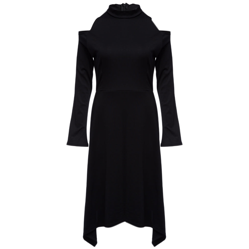 Brief Turtleneck Collar Cut Out Pure Color Asymmetrical Dress for Women