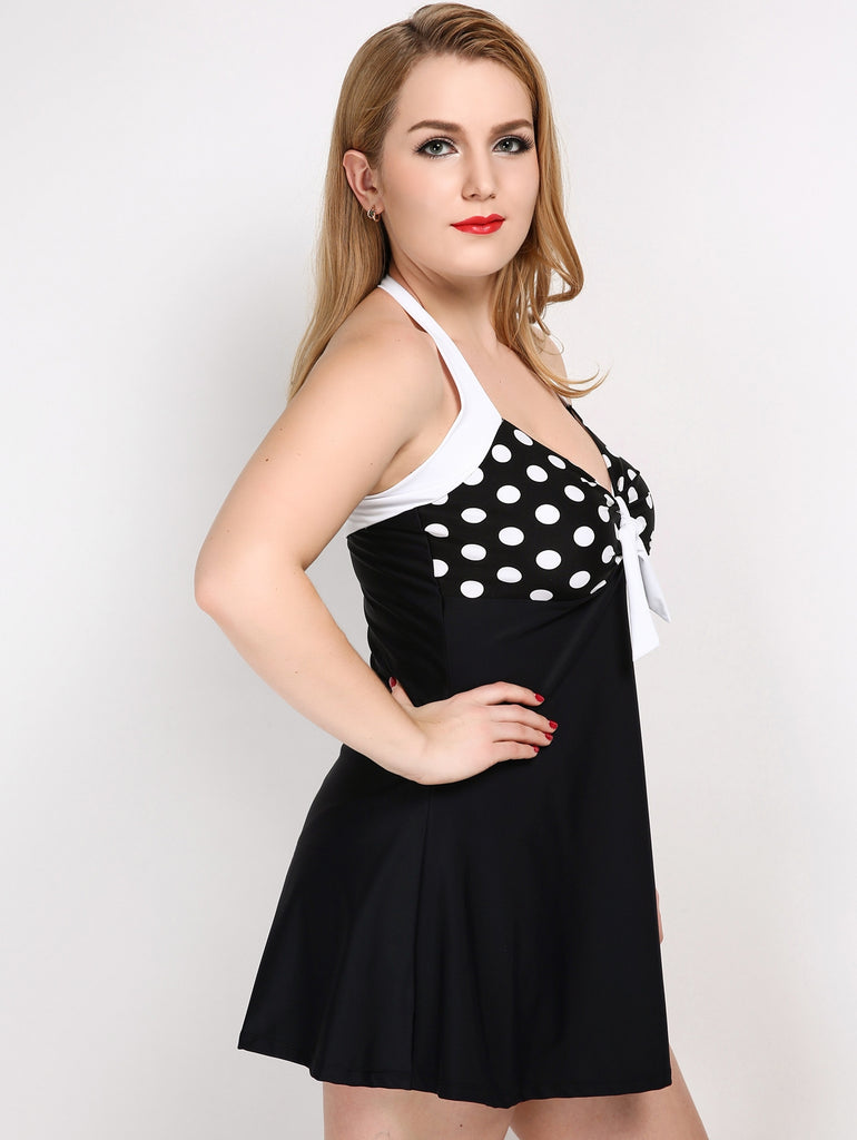 Plus Size Polka Dot Halter Two Piece Swimsuit