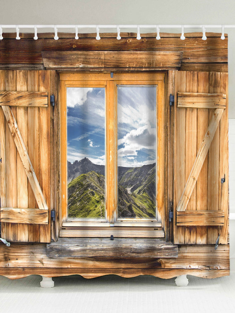 Wood Window Landscape Fabric Shower Curtain