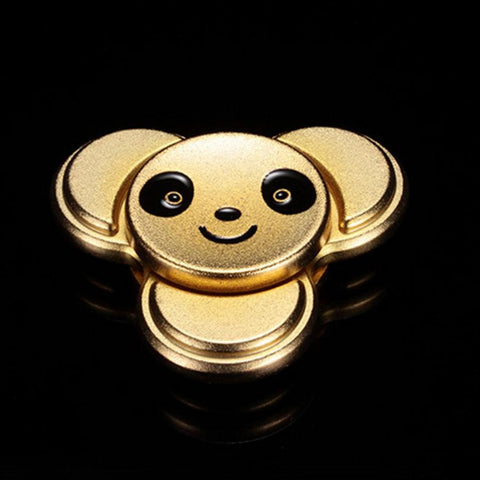 Panda Pattern Metal Finger Gyro Stress Relief Toy 6*6CM LUXURY GOLD COLOR Fidget Spinners
