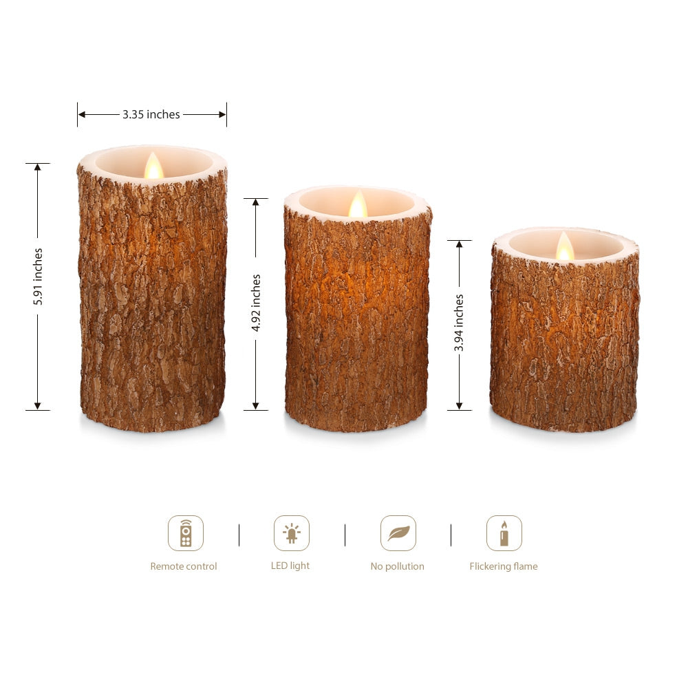 Wegarden 3PCS Electronic Flameless Flickering Candle Lamp