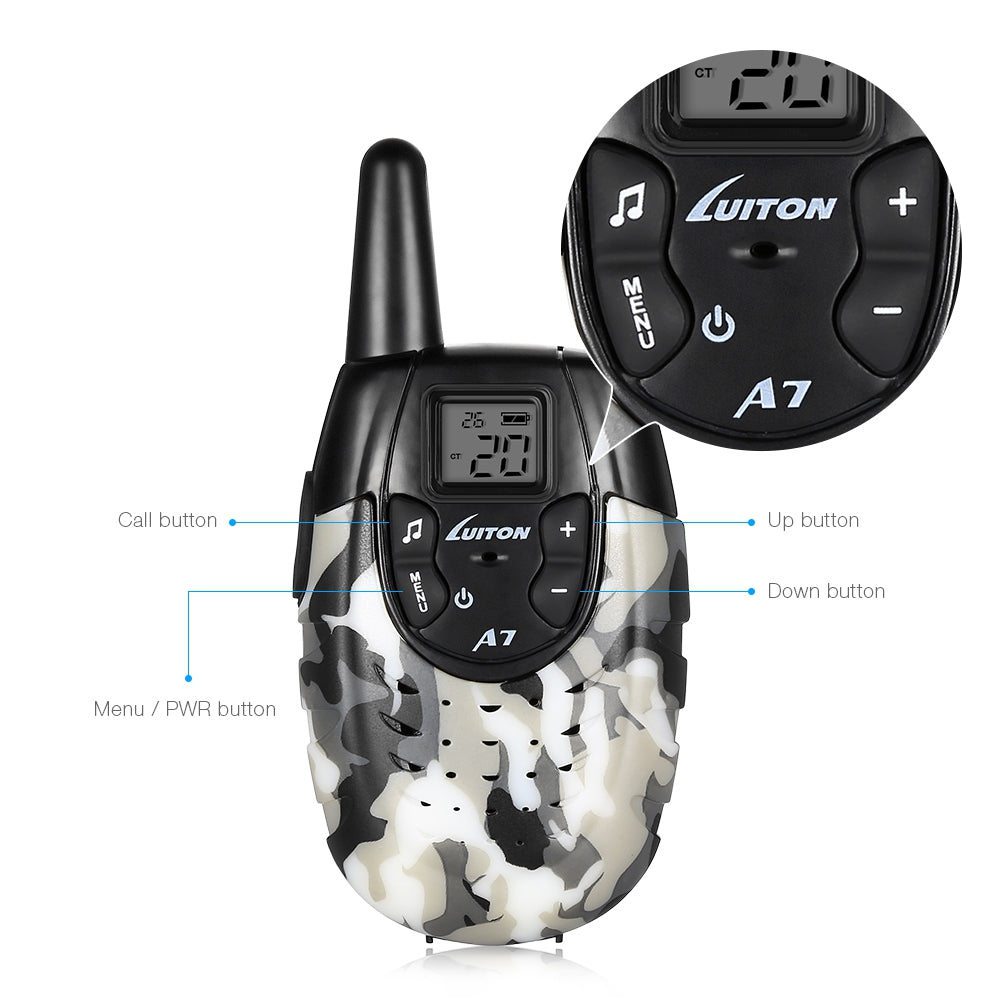 Pair of Luiton A7 Handheld Walkie Talkies for Kids