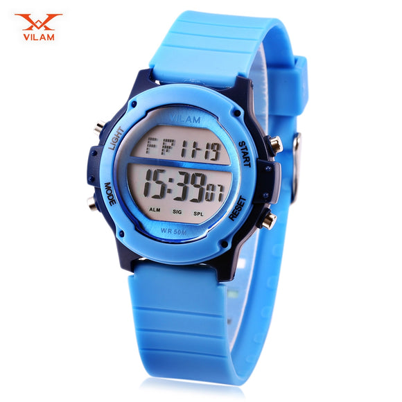 VILAM 06079 Digital Sports Watch LED Light Date Day Chronograph Display 5ATM Wristwatch