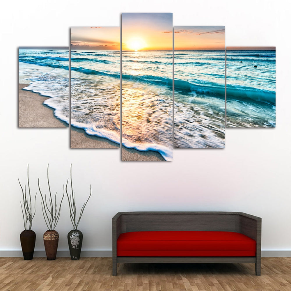 Sunset Beach Print Wall Art Split Canvas Paintings