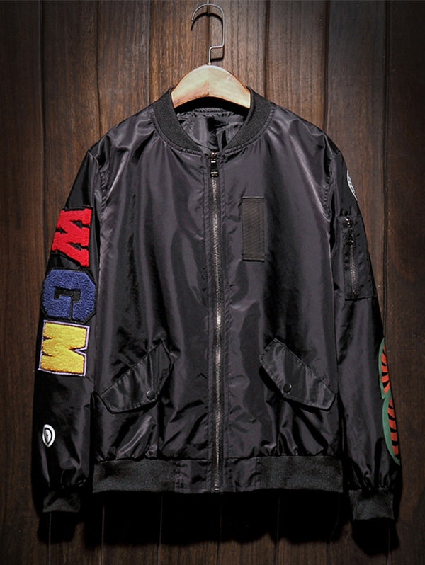 Zip Up Patch Bomber Jacket