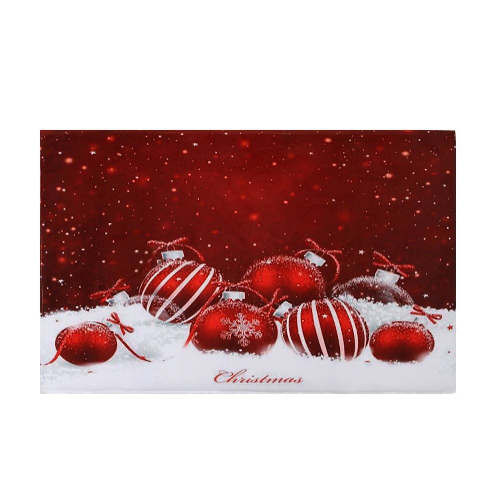 Christmas Baubles Snowfield Pattern Water Absorption Area Rug