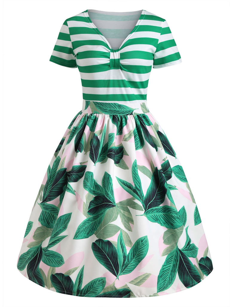 Tropical Print Striped Pin Up Vintage Dress Retro Dresses GREEN L