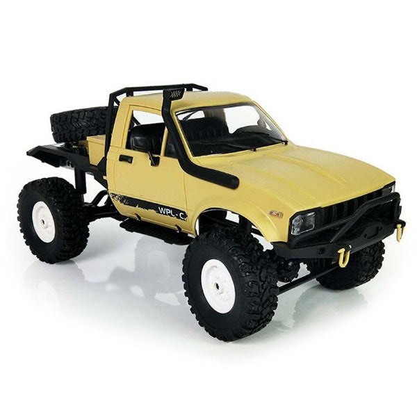 WPL C14 1:16 2.4G 2CH 4WD Mini Off-road RC Semi-truck with Metal Chassis / TPR Tires / 15km/h Top Speed RTR YELLOW RC Cars