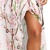 V-neck High Slit Floral Chiffon Flowy Dress