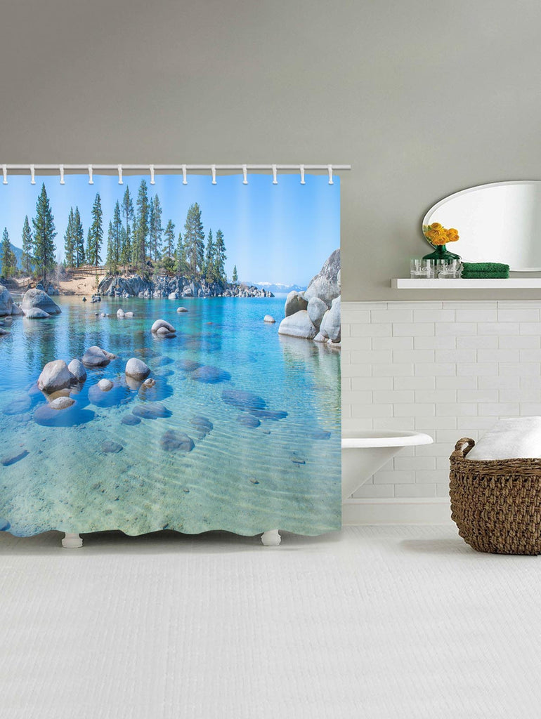 Clear Lake Bottom Stones Print Shower Curtain