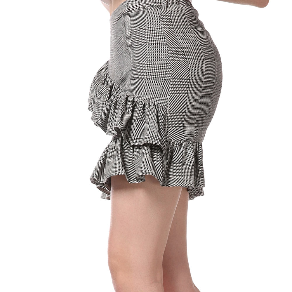 FRENCH BAZAAR Plaid Swing Ruffle Mini Bodycon Skirt Skirts LIGHT GREY XL