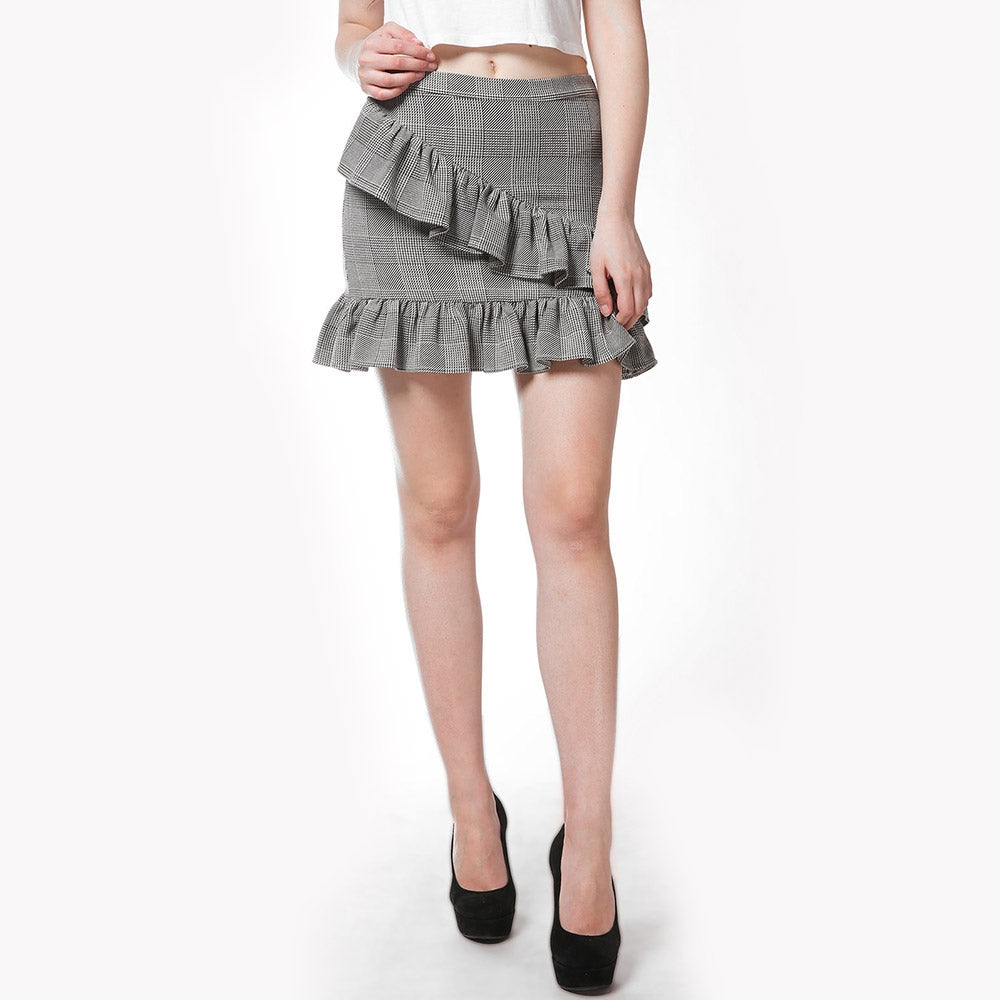 FRENCH BAZAAR Plaid Swing Ruffle Mini Bodycon Skirt