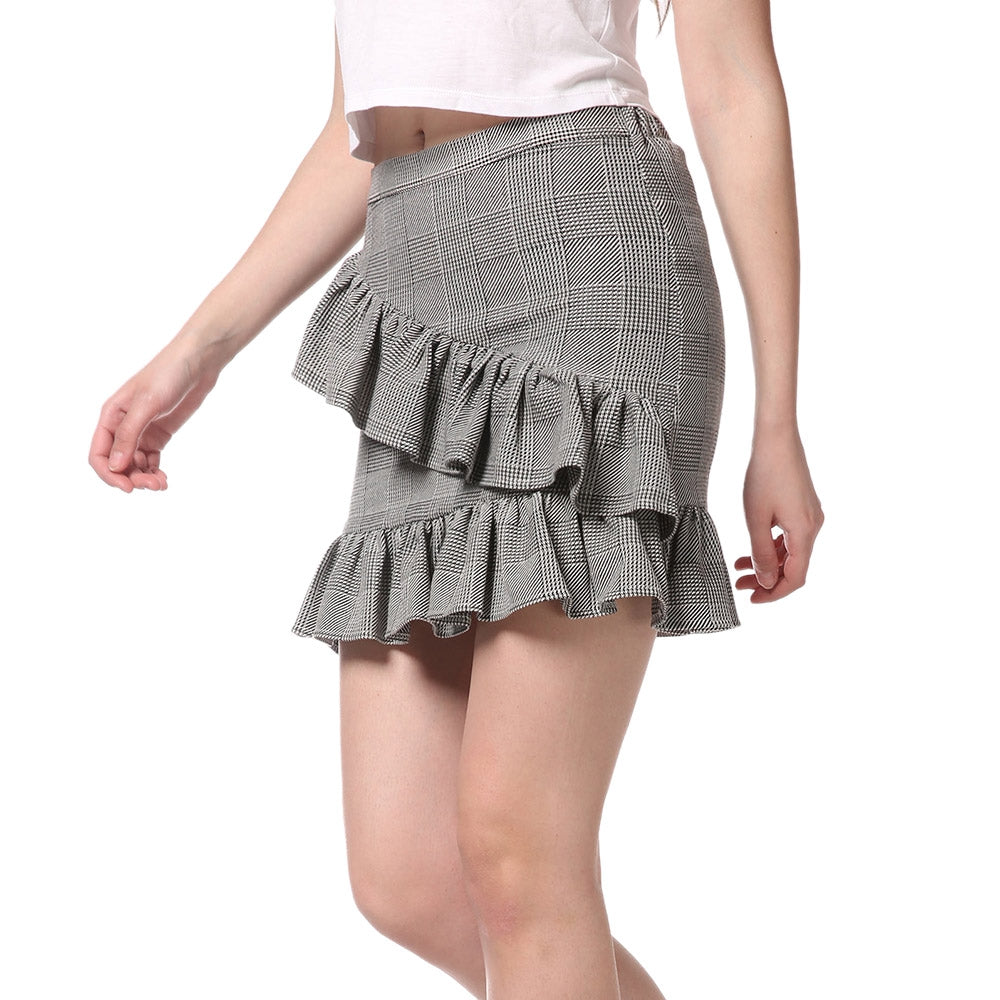 FRENCH BAZAAR Plaid Swing Ruffle Mini Bodycon Skirt Skirts LIGHT GREY L