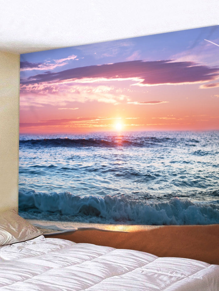 Sunset Beach Print Wall Hanging Tapestry