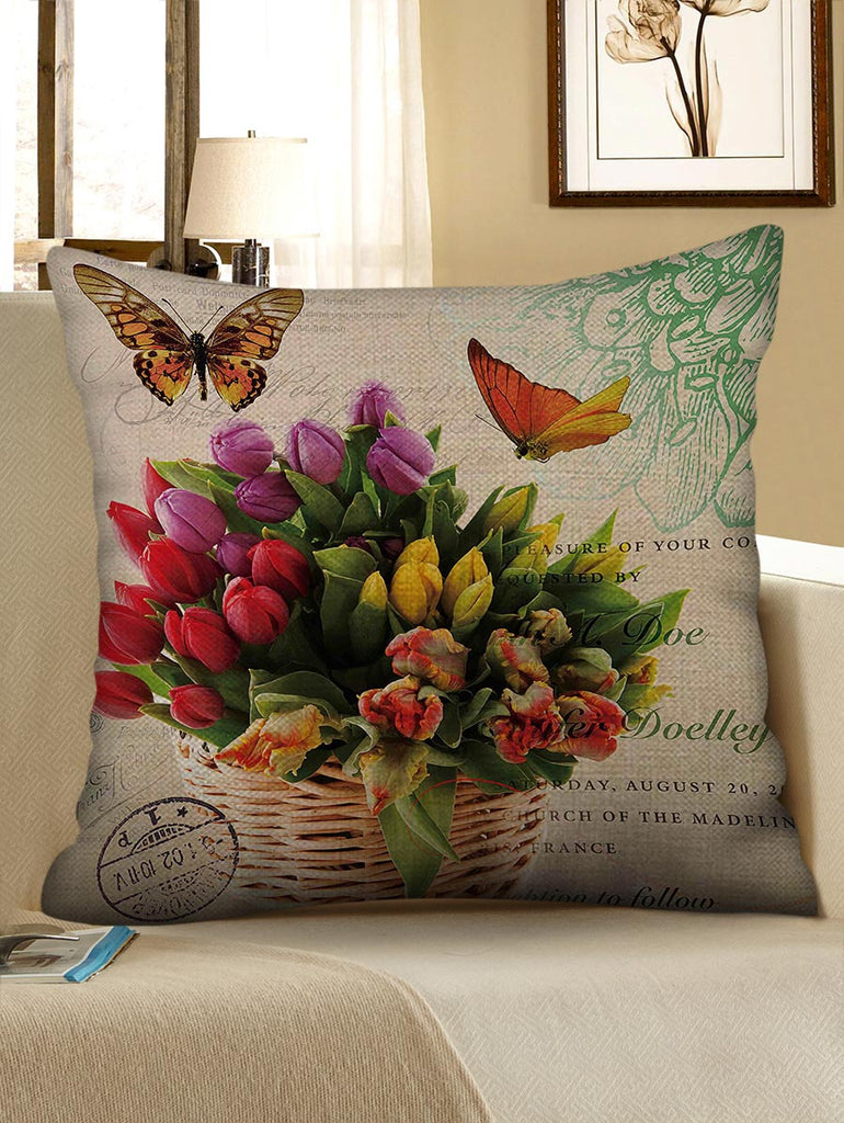 Flowers and Butterfly Print Decorative Linen Pillowcase