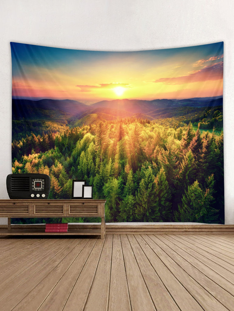Sunshine Forest Print Wall Tapestry Hanging Decoration