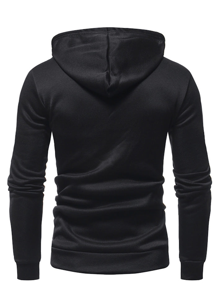 Men Fashion Casual Solid Color Hoodies Men's Hoodies & Sweatshirts BLACK L