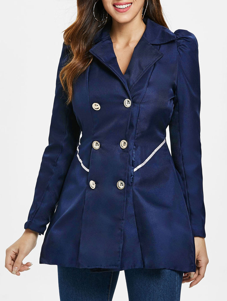 Fit and Flare Coat With Double Breasts Women's Coats CADETBLUE M