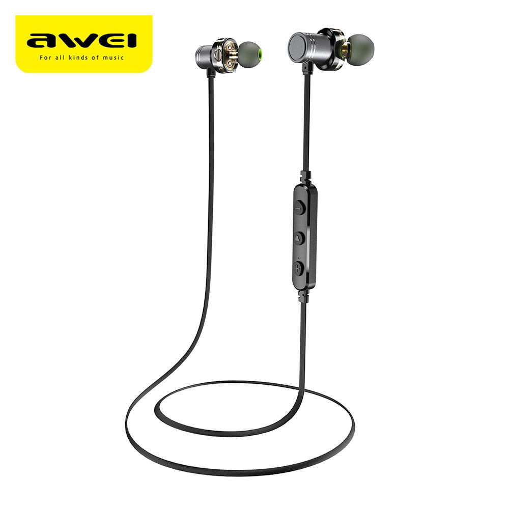 Awei X670BL Dual Drivers Magnetic IPX4 Wireless Bluetooth Earbuds Earphone GRAY Earphones & Headphones