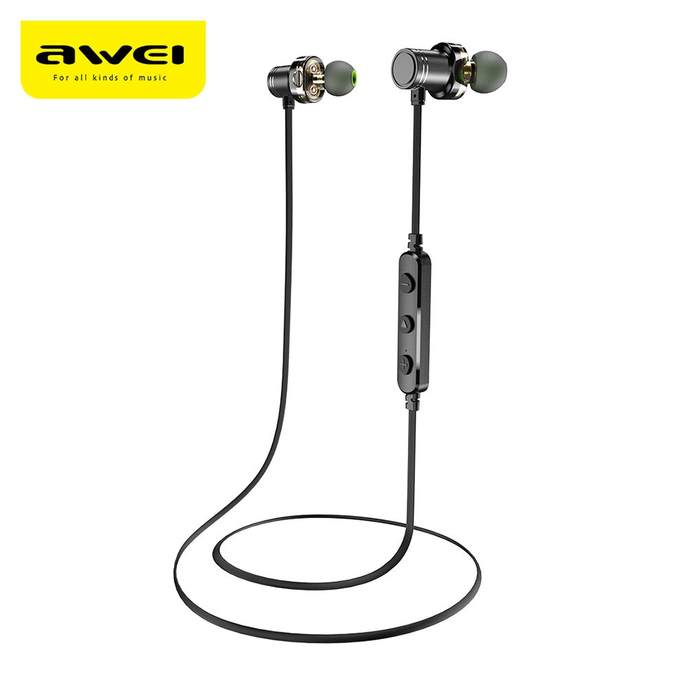 Awei X670BL Dual Drivers Magnetic IPX4 Wireless Bluetooth Earbuds Earphone BLACK Earphones & Headphones